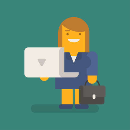 Business woman holding laptop suitcase and smiling. Vector character. Vector illustration 向量圖像