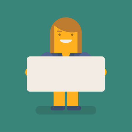 Business woman holding blank sign and smiling. Vector character. Vector illustration