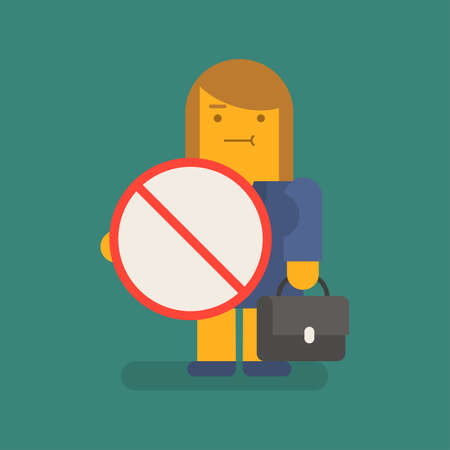 Business woman holding prohibition sign and suitcase. Vector character. Vector illustration 向量圖像