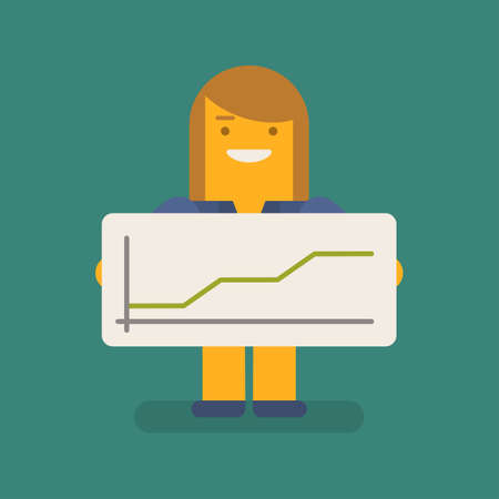 Business woman holding positive business graph and smiling. Vector character. Vector illustration 向量圖像