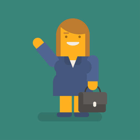 Business woman waving hand holding suitcase and smiling. Vector character. Vector illustration