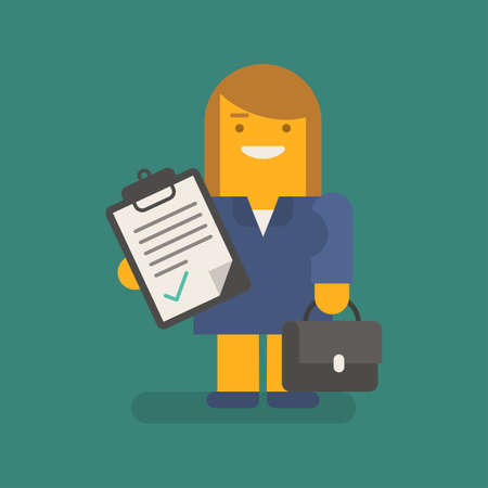 Business woman holding tablet with inscription suitcase and smiling. Vector character. Vector illustration