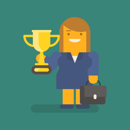 Business woman holding golden cup suitcase and smiling. Vector character. Vector illustration