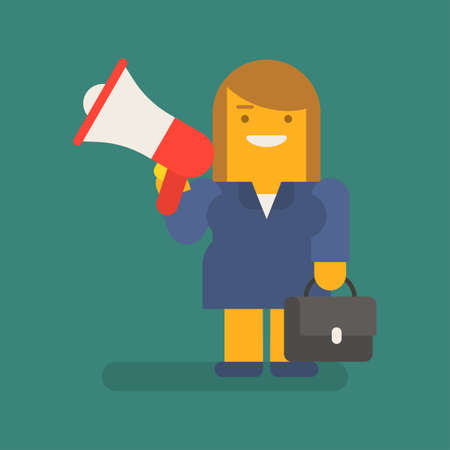 Business woman holding megaphone suitcase and smiling. Vector character. Vector illustration