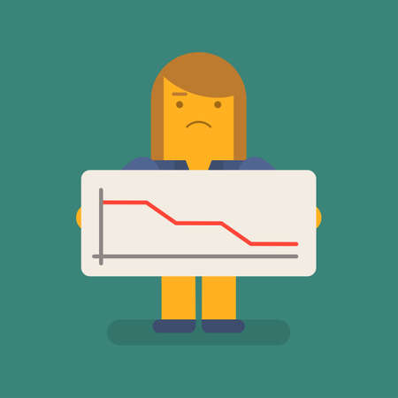 Business woman holding negative business graph and upset. Vector character. Vector illustration