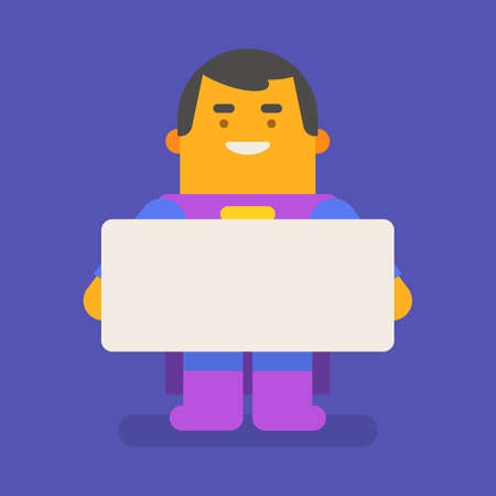 Superhero holding blank sign and smiling. Vector character. Vector illustration 向量圖像