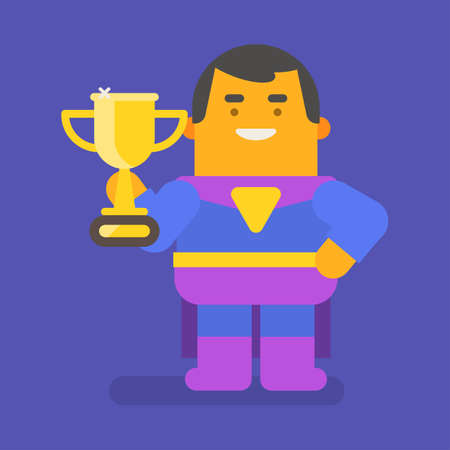 Superhero holding gold cup and smiling. Vector character. Vector illustration 向量圖像