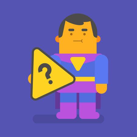 Superhero holding question mark. Vector character. Vector illustration
