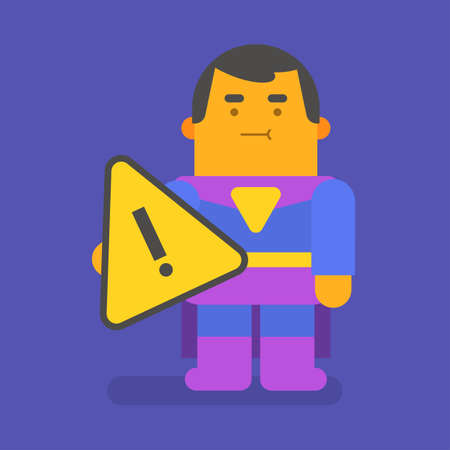 Superhero holding exclamation mark. Vector character. Vector illustration