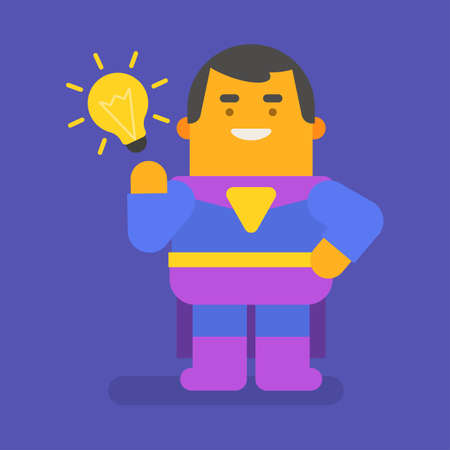 Superhero came up with an idea and smiles. Vector character. Vector illustration 向量圖像