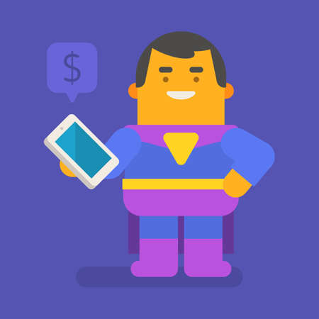 Superhero holding mobile phone and smiling. Vector character. Vector illustration