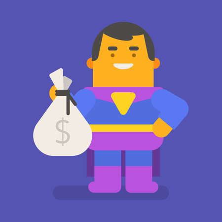 Superhero holding bag of money and smiling. Vector character. Vector illustration 向量圖像