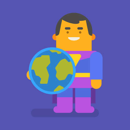 Superhero holding planet earth and smiling. Vector character. Vector illustration 向量圖像