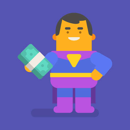 Superhero holding money and smiling. Vector character. Vector illustration