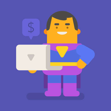 Superhero holding laptop and smiling. Vector character. Vector illustration