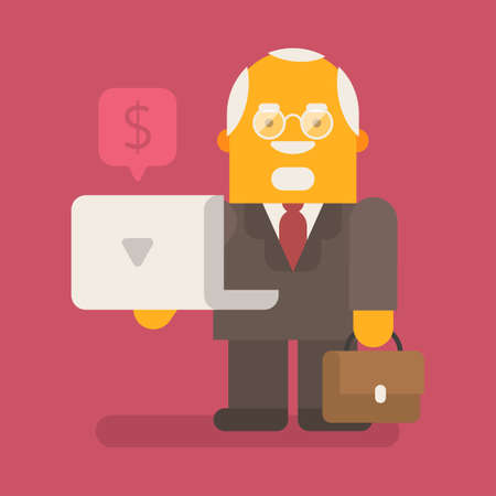Old businessman holds laptop and suitcase. Vector character. Vector illustration 向量圖像