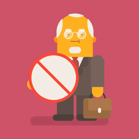 Old businessman holding prohibition sign and suitcase. Vector character. Vector illustration