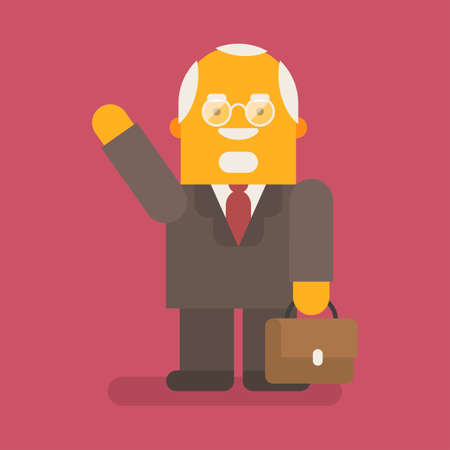 Old businessman waving and smiling. Vector character. Vector illustration