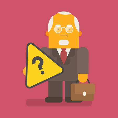 Old businessman holding question mark and suitcase. Vector character. Vector illustration