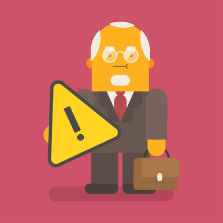 Old businessman holding exclamation mark and suitcase. Vector character. Vector illustration 向量圖像