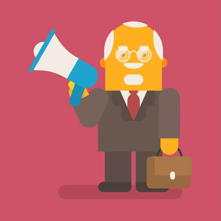 Old businessman holding megaphone and suitcase. Vector character. Vector illustration