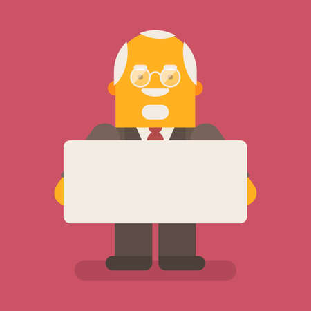 Old businessman holding blank sign and smiling. Vector character. Vector illustration 向量圖像