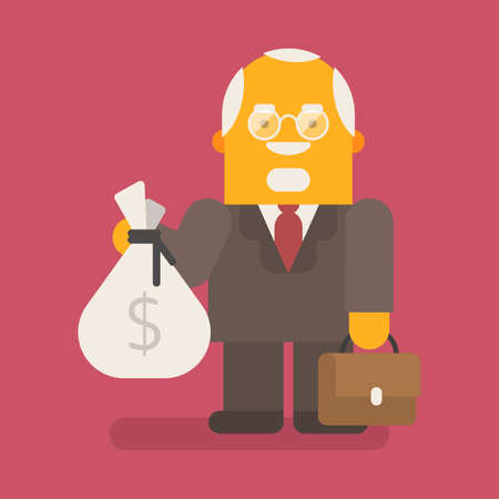 Old businessman holds bag of money and suitcase. Vector character. Vector illustration