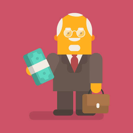 Old businessman holding wad of money and suitcase. Vector character. Vector illustration 向量圖像