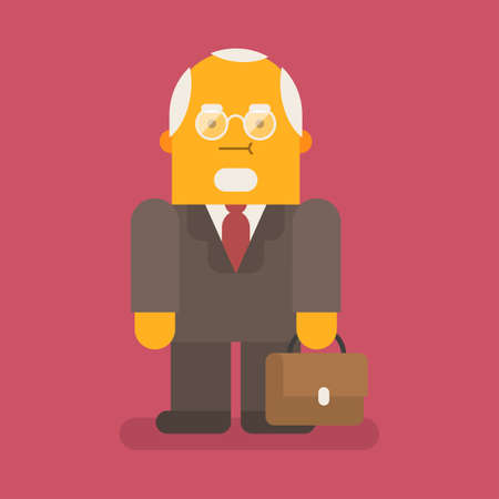 Old businessman in suit and holds suitcase. Vector character. Vector illustration