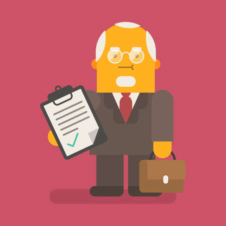 Old businessman holds tablet and suitcase. Vector character. Vector illustration 向量圖像