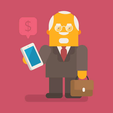 Old businessman holding mobile phone and suitcase. Vector character. Vector illustration 向量圖像