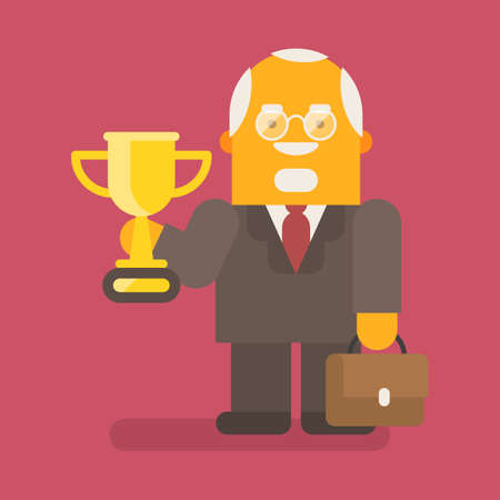 Old businessman holding gold cup and suitcase. Vector character. Vector illustration 向量圖像