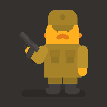 Sergeant with red mustache holding black pistol. Vector character. Vector illustration