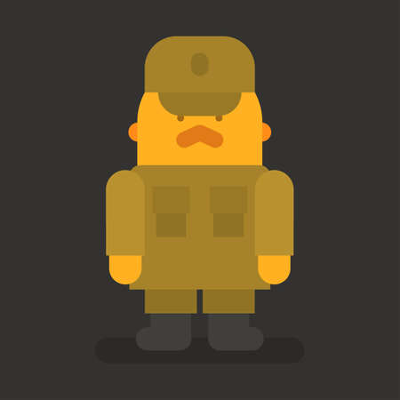 Sergeant with red mustache stands in military uniform. Vector character. Vector illustration