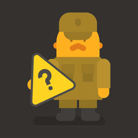 Sergeant with red mustache holding question mark. Vector character. Vector illustration