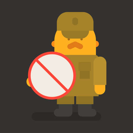 Sergeant with red mustache holding prohibition sign. Vector character. Vector illustration