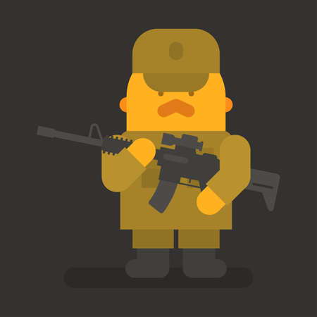 Sergeant with red mustache holding black machine gun. Vector character. Vector illustration Illustration