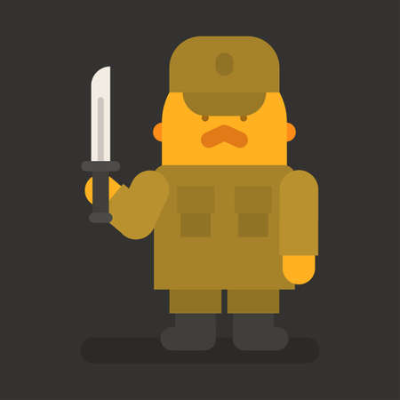 Sergeant with red mustache holding knife. Vector character. Vector illustration 向量圖像