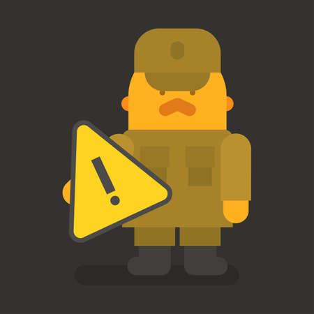 Sergeant with red mustache holding exclamation mark. Vector character. Vector illustration