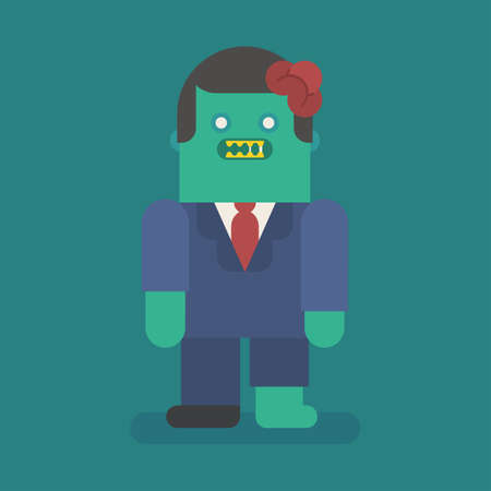 Young businessman zombie character. Vector character. Vector Illustration