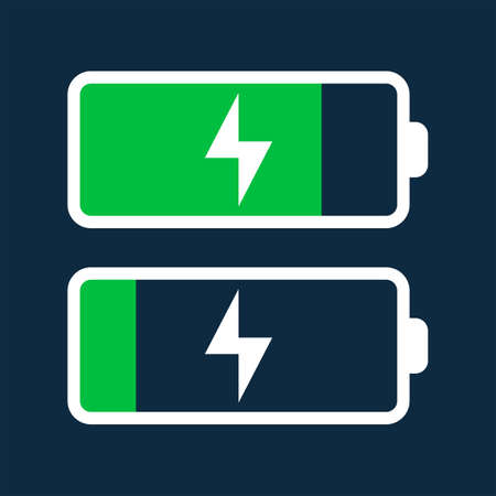 Battery icon two variants. Vector icons. Vector Illustration