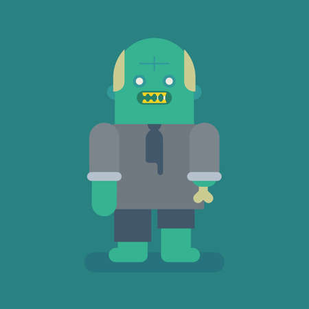Old businessman zombie character. Vector character. Vector Illustration