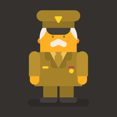 Old man general military. Vector character. Vector Illustration Illustration