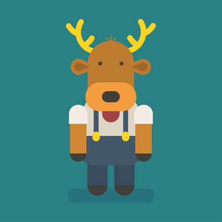 Funny character deer. Vector character. Vector Illustration Illustration