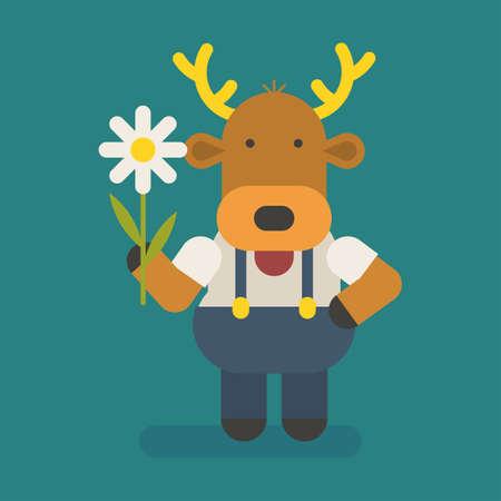 Funny character deer holding white flower. Vector character. Vector Illustration Illustration