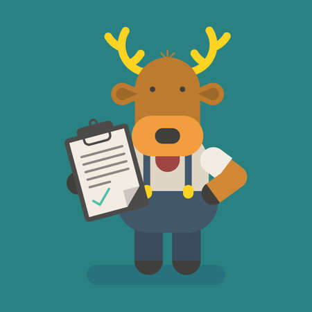 Funny character deer holds tablet with inscription. Vector character. Vector Illustration