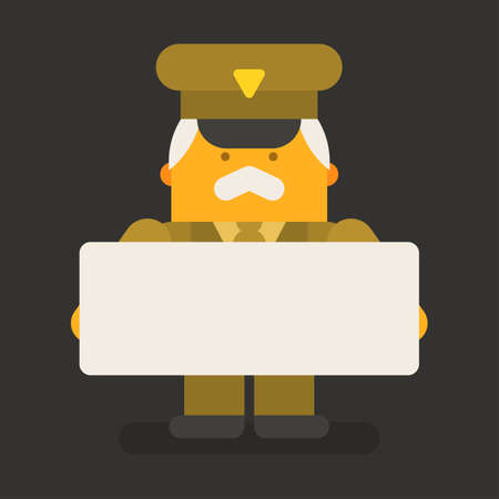Old man general military holding blank sign. Vector character. Vector Illustration Illustration