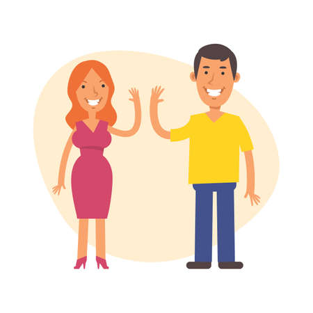 Woman and man smile and clap their hands. Vector characters. Vector Illustration