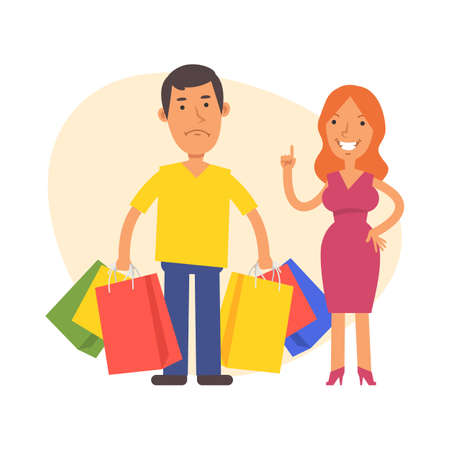 Woman shows thumbs up and disgruntled man stands nearby and holds lot bags with purchases. Vector characters. Vector Illustration