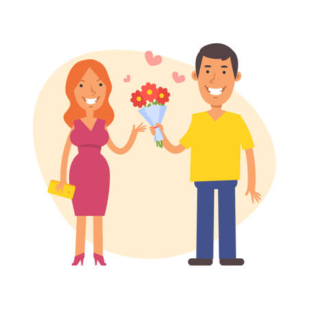 Man gives woman bouquet flowers and smiles. Vector characters. Vector Illustration